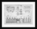 View of the Royal Exchange with coats of arms above, City of London by
