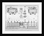 South view of the first Royal Exchange with coats of arms above, City of London by Anonymous