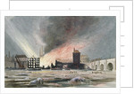 Destruction of Sir C Price's oil warehouse and wharf, William Street, Blackfriars, London by