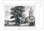View of Chelsea Old Church with the River Thames on the left, London by