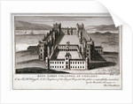 Bird's-eye view of King James's College, Chelsea, London by