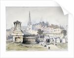 View of Bunhill Row from Bunhill Fields, Finsbury, Islington, London by Thomas Colman Dibdin