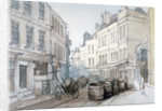 Bread Street Hill and St Nicholas Olave Churchyard, City of London by Thomas Colman Dibdin