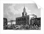 View of the church and graveyard of St James Clerkenwell, London by William Fellows