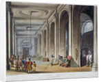 Interior view of the royal stables, King's Mews, Charing Cross, Westminster, London by Augustus Charles Pugin