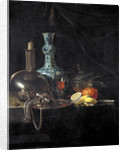 Still life with a pilgrim flask, candlestick, porcelain vase and fruit by Willem Kalf