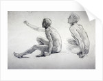 Two Studies of a Seated Male Nude by