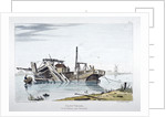 View of a sand vessel on the River Thames at Vauxhall, London by George Harley