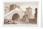 View of the south end of Southwark Bridge from Bankside, Southwark, London by John Chessell Buckler