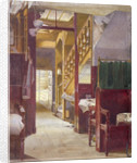 Interior view showing the staircase at the Cock Tavern, Fleet Street, City of London by John Crowther