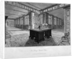 Interior view of the library at Lambeth Palace, with a desk in the foreground by