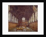 Interior view of Middle Temple Hall from the high table with figures, London by John Crowther
