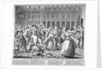 He and his drunken companions raise a riot in Covent Garden by