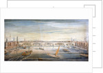 View of the new London Bridge from the west, with boats and barges on the Thames by G Yates