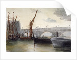 View of Blackfriars Bridge, with boats in the foreground, London by Thomas Hollis
