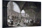 View of the courtyard in the Royal Exchange with merchants and brokers, City of London by