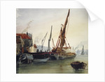 View of boats moored on the River Thames at Bankside, Southwark, London by