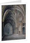 Interior view of the cloisters in Westminster Abbey, London by John Chessell Buckler