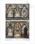 Monuments in the west aisle of  Westminster Abbey's north transept, London by Augustus Charles Pugin