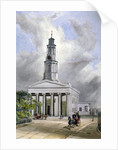 View of St Pancras New Church with carriages on Euston Road, London by W Guest