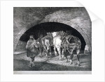 Entrance to the Adelphi wharf showing work horses and two men, Westminster, London by Charles Joseph Hullmandel