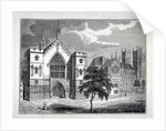 Westminster Hall from New Palace Yard with a view of Westminster Abbey, London by