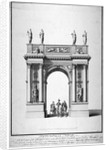 Triumphal arch on the west end of Westminster Hall, London by
