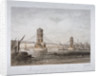 View of Hungerford Suspension Bridge and boats on the River Thames, London by Louis Julien Jacottet