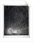 Interior view of Westminster Hall showing the fine hammerbeam roof, London by George Hawkins