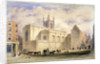View of St Mary Aldermary with a street scene in Watling Street, City of London by Anonymous