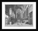 Interior view of St Paul's Cathedral, City of London by Johannes Kip