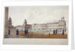 View of Greenwich Hospital with residents in the foreground, London by