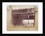 View of figures looking over the south side of Shoe Lane Bridge, City of London by