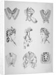 Nine vignettes of collars, hats and bodices by Anonymous