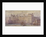 View of Billingsgate Market with figures and boats in the foreground, London by CF Kell