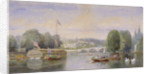 The River Thames with Richmond Bridge and Richmond Hill in the distance, London by George Henry Andrews