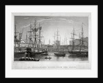 View of St Katharine's Dock from the basin, London by Henry Jorden