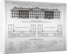 Elevation of the north front and plans of London Hospital, Whitechapel, London by