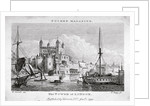 View of the Tower of London with boats on the River Thames by