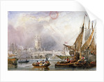 View of the River Thames and water craft below London Bridge by Anonymous
