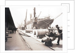 Unloading rolls of paper from a ship, London by Anonymous