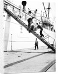 Unloading a barrel from a ship down a gangway, London by Anonymous