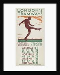 Football Grounds, Tramway Services, London County Council (LCC) Tramways poster by BE Stall