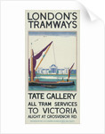 Tate Gallery, London County Council (LCC) Tramways poster by Lance Cattermole