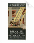 Tate Gallery, National Gallery, London County Council (LCC) Tramways poster by Tony Castle