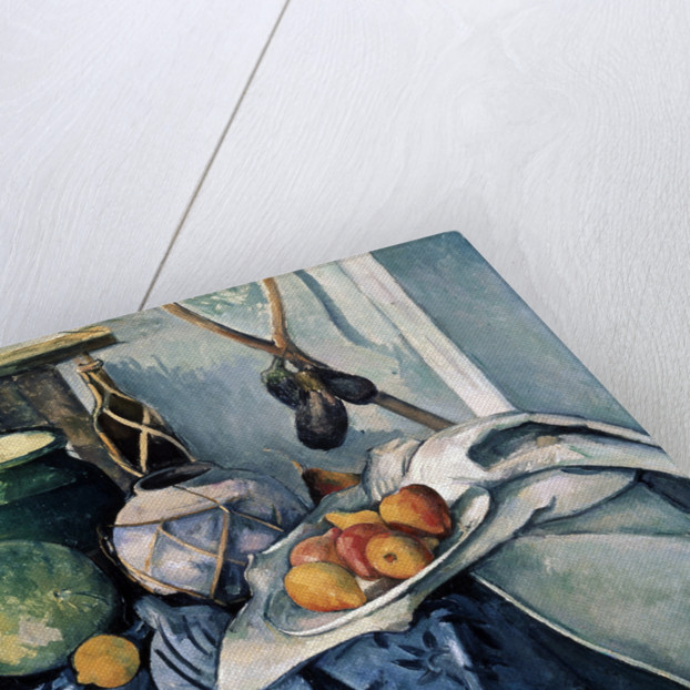 Still Life with a Flagon and Aubergines by Paul Cezanne