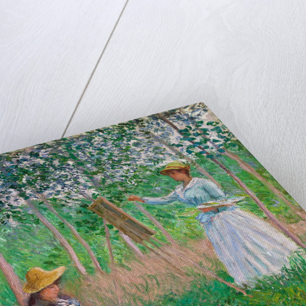 In the Woods at Giverny: Blanche Hoschedé at Her Easel with Suzanne Hoschedé Reading by Claude Monet