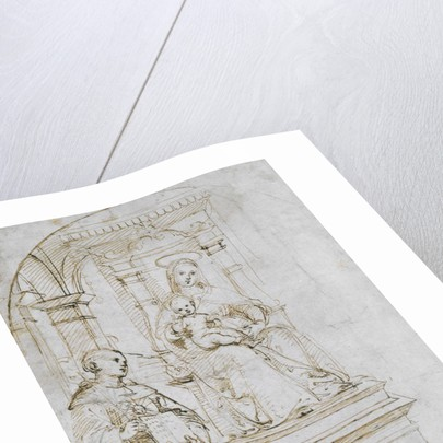 Sketch for an enthroned Virgin and Child with Saint Nicholas of Tolentino by Raphael