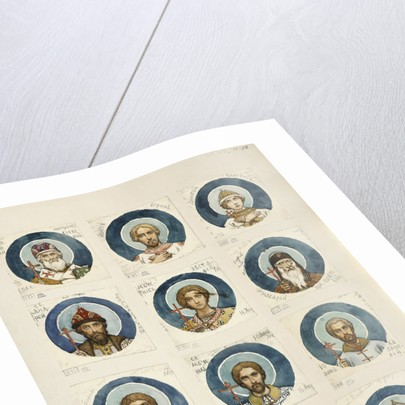 Medallions with Russian Saints (Study for frescos in the St Vladimirs Cathedral of Kiev), 1884-1889 by Viktor Mikhaylovich Vasnetsov