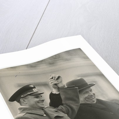 The cosmonaut Yuri Gagarin and Nikita Khrushchev on Lenins Mausoleum Tribune by Anonymous